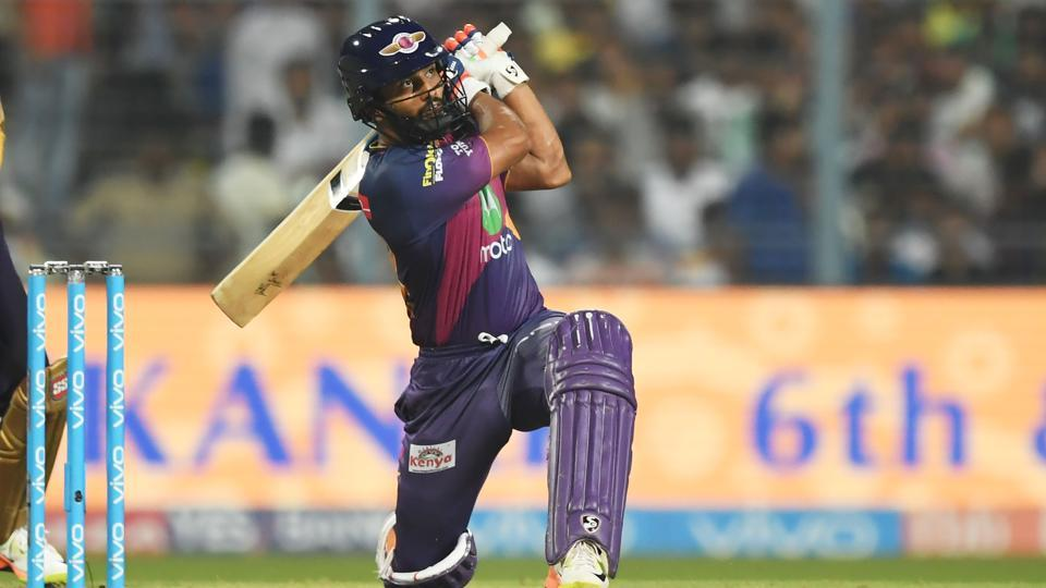 Rising Pune Supergiant's Rahul Tripathi plays a shot during the 2017 Indian Premier League (IPL) T20 match against Kolkata Knight Riders at the Eden Gardens Stadium in Kolkata on May 3, 2017.