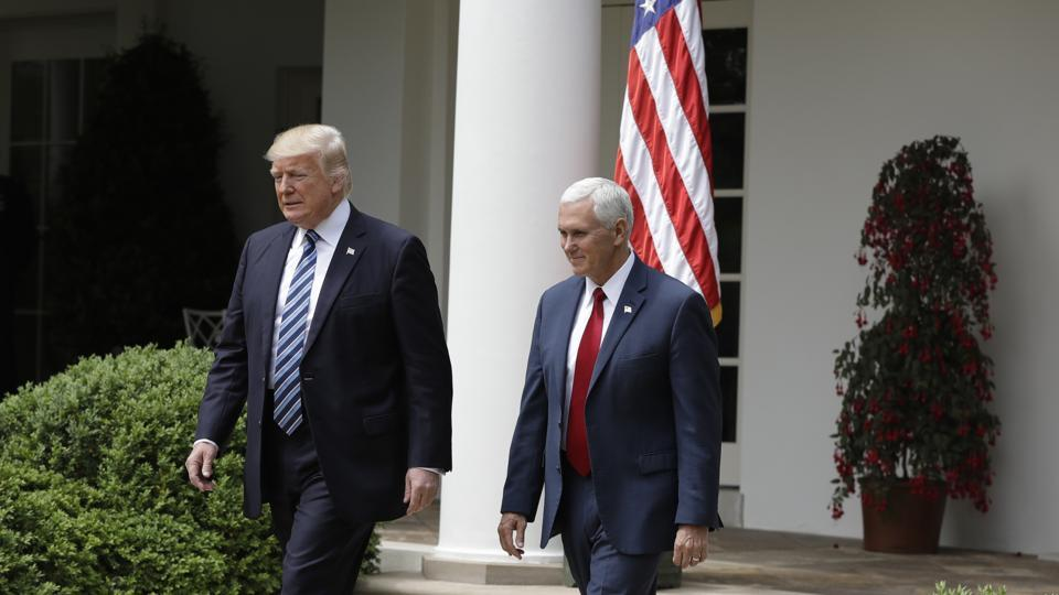 Donald Trump and Mike Pence at the Rose Garden of the White House on Thursday.