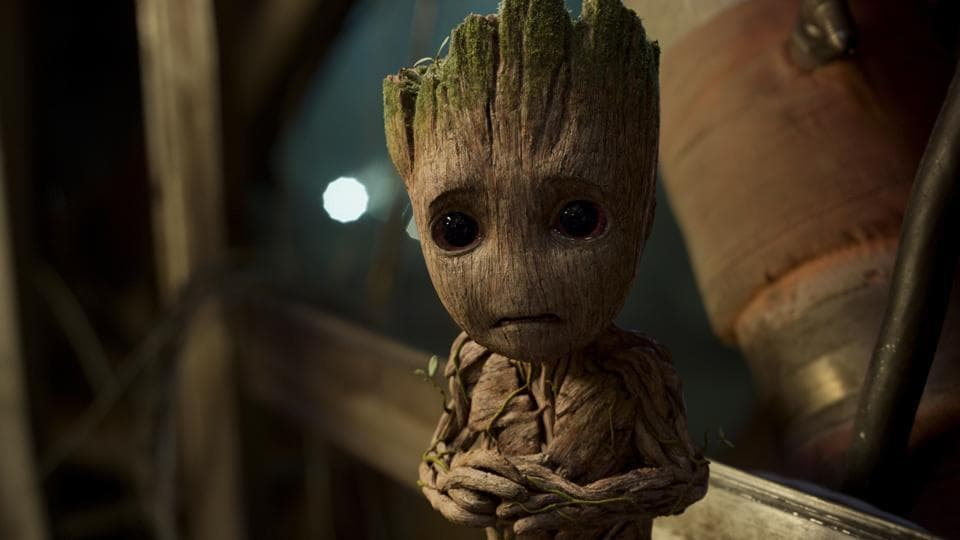 This image released by Disney-Marvel shows Groot, voiced by Vin Diesel, in a scene from, Guardians Of The Galaxy Vol. 2.