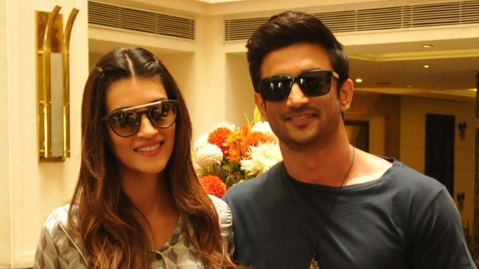 Bollywood actors Sushant Singh Rajput and Kriti Sanon in Jalandhar on Thursday.