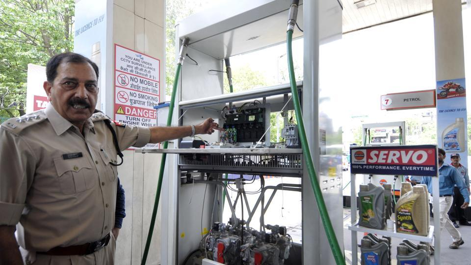 Police and Noida city magistrate inspected a fuel station in Sector 21 A on Thursday.