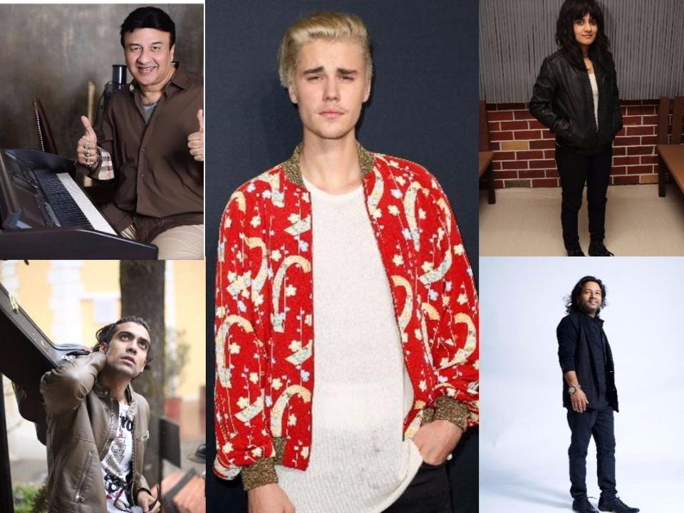 The Indian music industry is divided over pop star Justin Bieber's demands for his maiden India concert. Clockwise from bottom left: Jubin Nautiyal, Anu Malik, Justin Bieber, Jasleen Royal, and Kailash Kher.