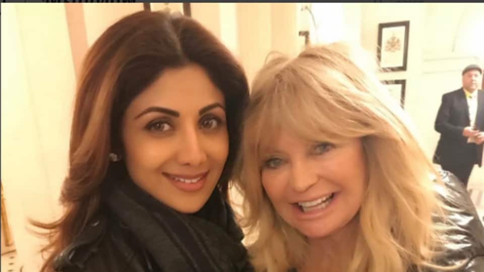 Actor Shilpa Shetty and Goldie Hawn at a charity event in London.