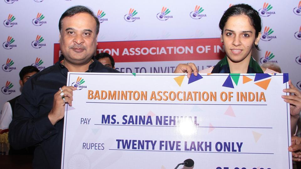 The Badminton Association of India (BAI) gave the pending prize money to the top players of the country including Saina Nehwal onFriday.
