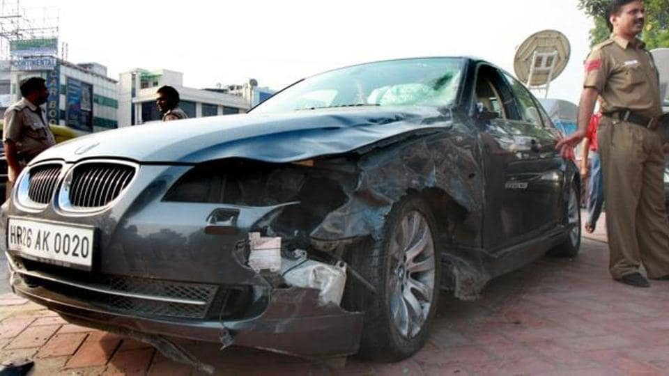 The BMW whose driver Utsav Bhasin crushed a motorist at Moolchand Flyover in Delhi on September 11, 2008.