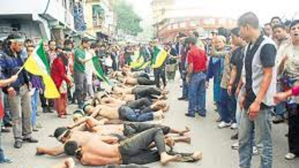 File picture of agitation for a separate state of Gorkhaland. The vexed issue is again featuring prominently in the civic polls.