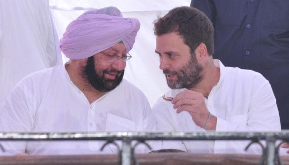 Punjab chief minister Captain Amarinder Singh and (right) Congress vice-president Rahul Gandhi.