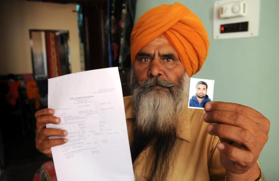 Father of Hardeep Singh said his son was picked up from their home at 8 in the morning but the police FIR claims he was detained at a police picket after heroin was found on him.