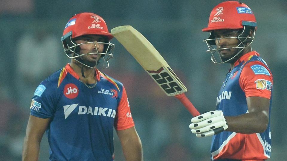 Delhi Daredevils' Sanju Samson (R) and Rishabh Pant shared a 143-run stand against Gujarat Lions in an Indian Premier League (IPL) 2017.