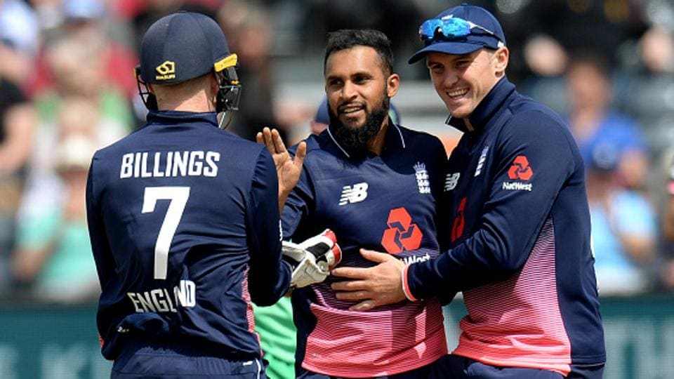 Adil Rashid (middle) took 5/27 as England beat Ireland by seven wickets to go 1-0 up in the two-match ODI series.