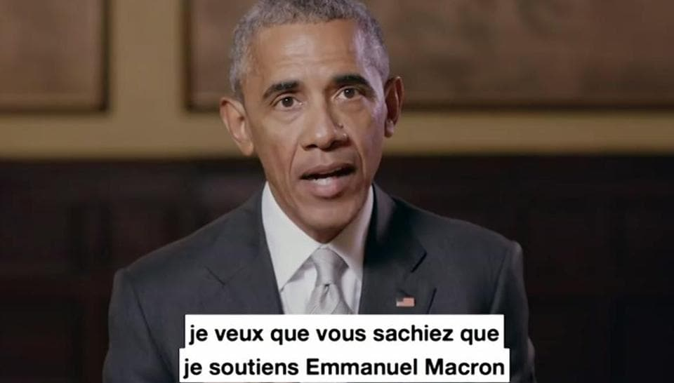 In this image taken from video made available by the Obama Foundation, former US President Barack Obama relays a message showing his support for French presidential candidate Emmanuel Macron.
