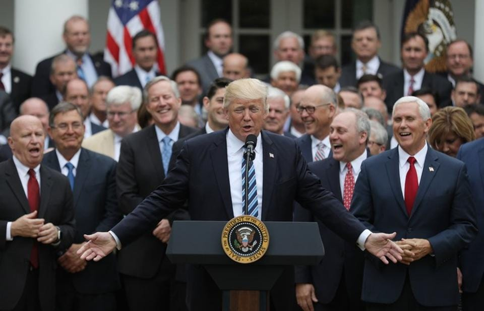 Donald Trump with Congressional Republicans at the White House on Thursday.