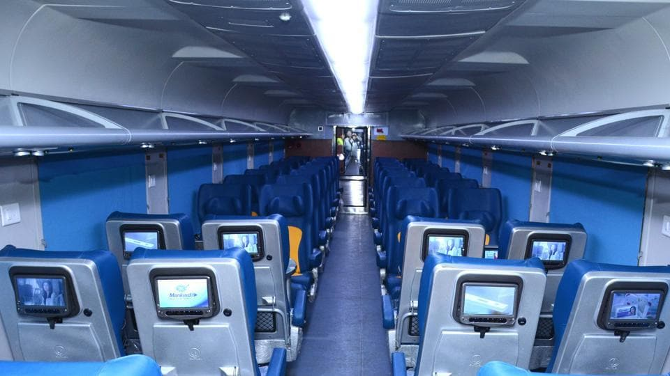 A view of a coach in Tejas Express at RCF Kapurthala.