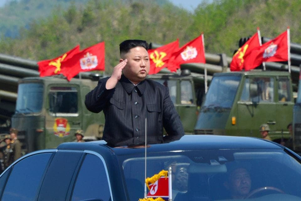 North Korea's leader Kim Jong Un watches a military drill marking the 85th anniversary of the establishment of the Korean People's Army (KPA) on April 26.