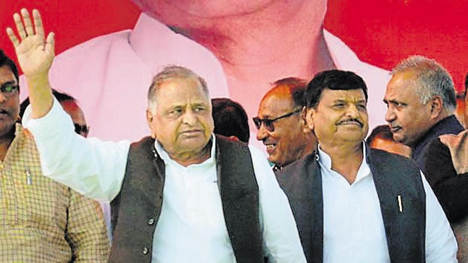 Samajwadi Party founder Mulayam Singh Yadav with his brother and senior leader Shivpal Singh Yadav.