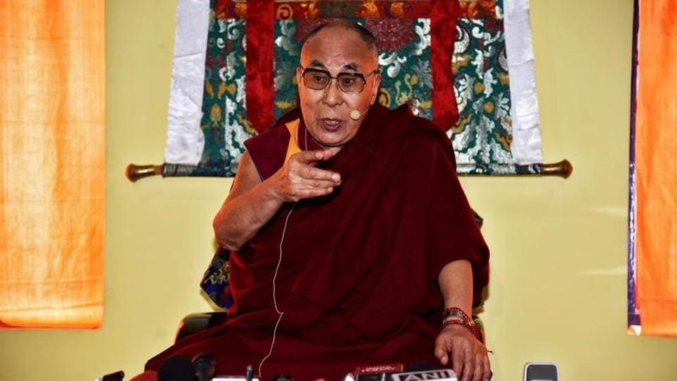 Tibetan spiritual leader Dalai Lama speaks at a press conference after delivering teachings at Yiga Choezin, in Tawang, Arunachal Pradesh.