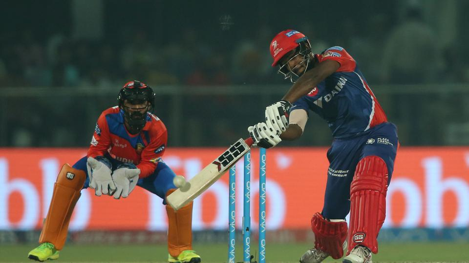 Sanju Samson of Delhi Daredevils hits over the top for a six during the 2017 Indian Premier League match against Gujarat Lions at the Feroz Shah Kotla in Delhi on Thursday.