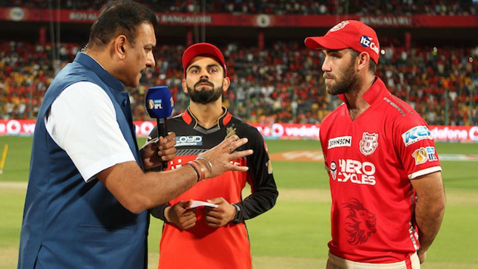 Royal Challengers Bangalore captain Virat Kohli and Kings XI Punjab captain Glenn Maxwell during toss at the Chinnaswamy Stadium on Friday. Follow live streaming of RCB vs KXIP IPL 2017 online