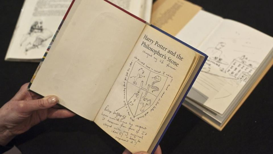 """A first edition copy of """"Harry Potter and the Philosopher's Stone"""" is seen at Sotheby's auction house in central London on May 20, 2013."""