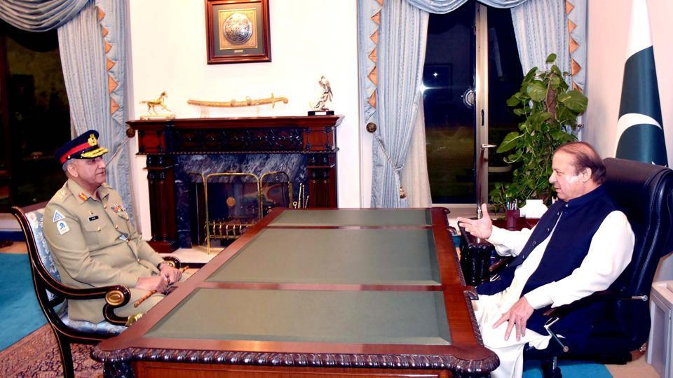 File photo of Nawaz Sharif meeting Gen Qamar Javed Bajwa in November.