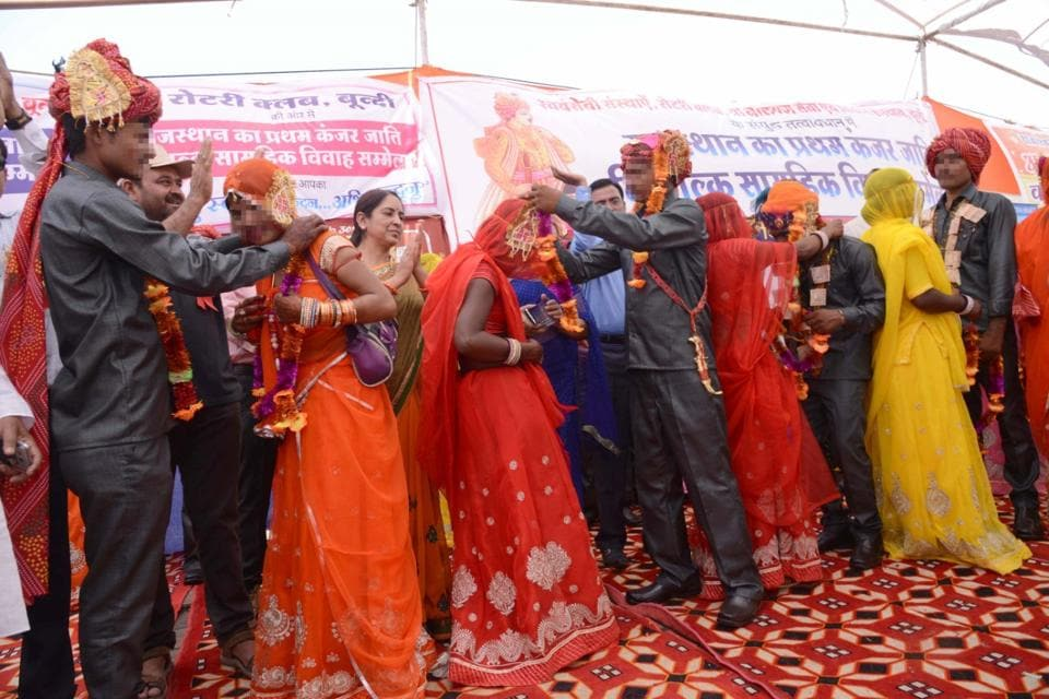 Twenty-two sex workers from the denotified Kanjur tribe were married at a mass wedding ceremony in Rajasthan's Bundi district on Saturday.