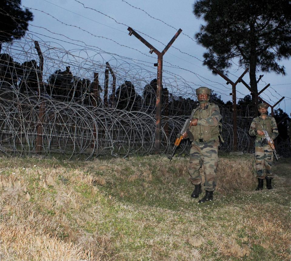 Army soldiers patrol at the Line of Control (LoC) in Poonch district of Jammu and Kashmir.