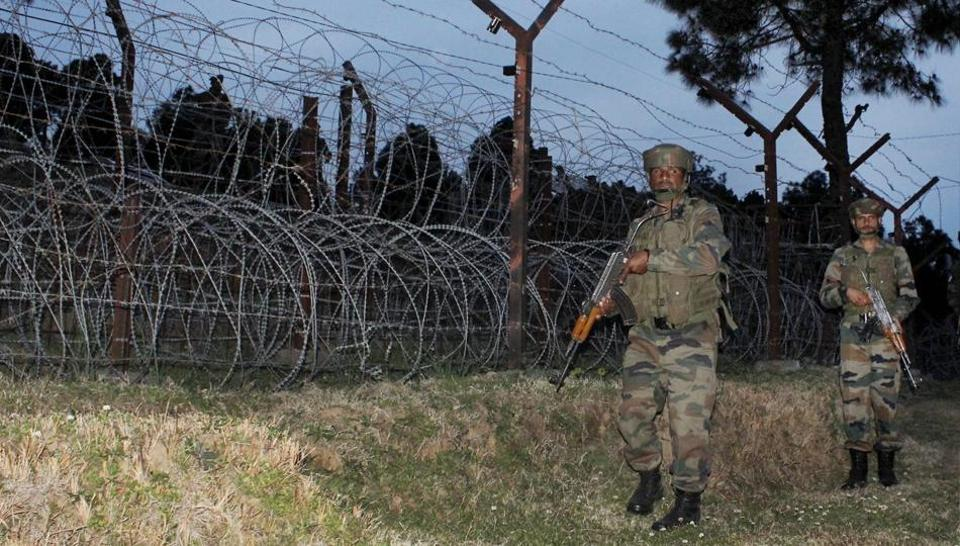 Army jawans patrolling along the Line of Control in Jammu and Kashmir.