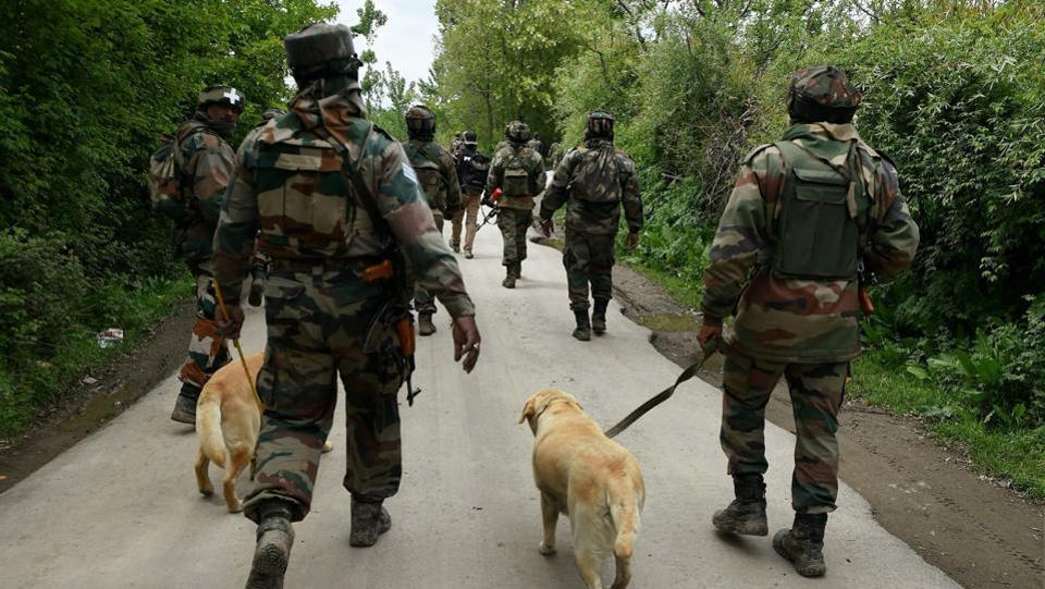 Army soldiers carrying out a search operation in Shopian district of south Kashmir on Thursday.