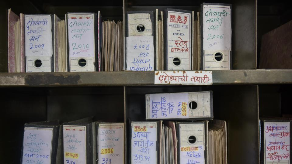 A file rack at the Mumbai police headquarters storing files and police photography.  (Kunal Patil/HT Photo)