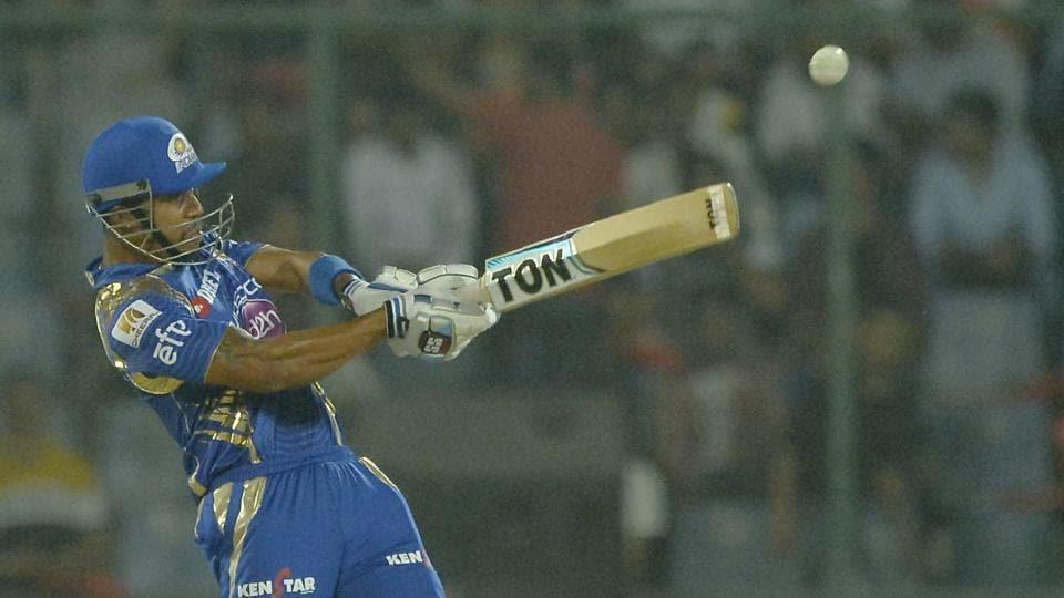 Mumbai Indians (MI) batsman Lendl Simmons hits a boundary during the 2017 Indian Premier League (IPL) match against Delhi Daredevils (DD)at Feroz Shah Kotla on Saturday