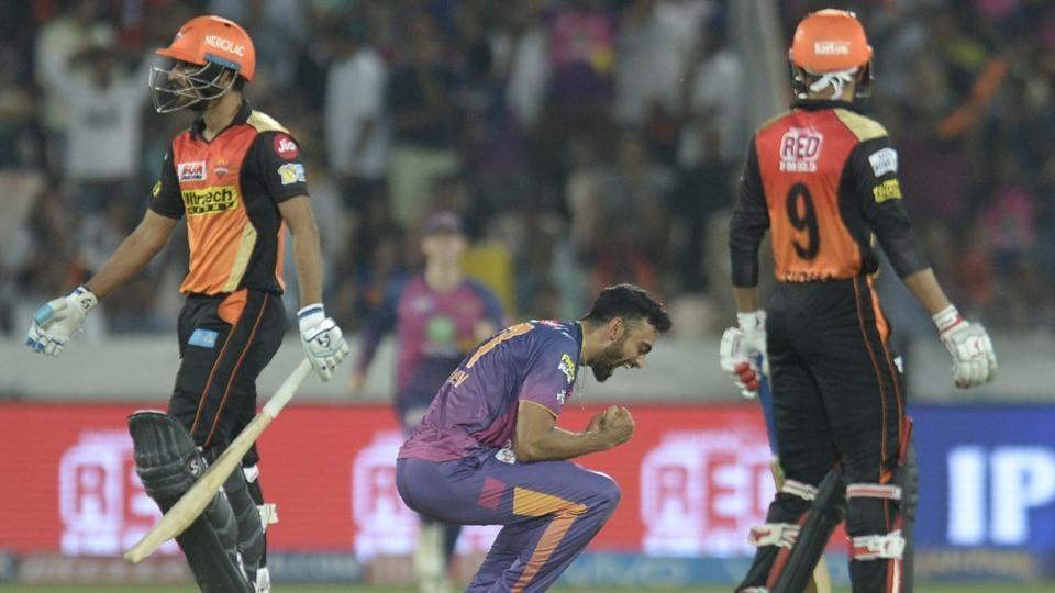 Rising Pune Supergiant's (RPS) Jaydev Unadkat celebrates his five-wicket haul against Sunrisers Hyderabad (SRH)during the 2017 Indian Premier League (IPL) match at Rajiv Gandhi International Cricket Stadium in Hyderabad on Saturday.