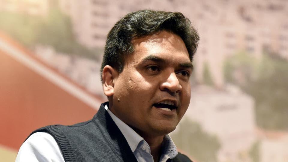 Kapil Mishra speaks during a press conference.