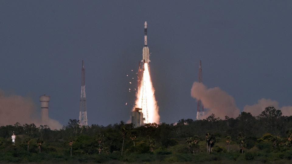 Indian Space Research Organisation's communication satellite GSAT-9 on-board GSLV-F09 lifts off from Satish Dhawan Space Center in Sriharikota on Friday.