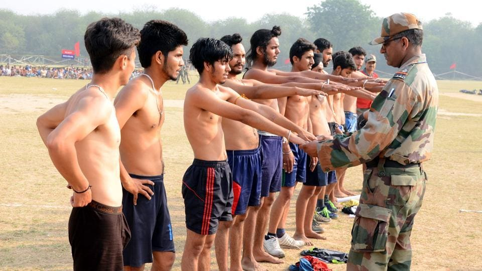 File photograph of  candidates  in the physical fitness test during an army recruitment rally.