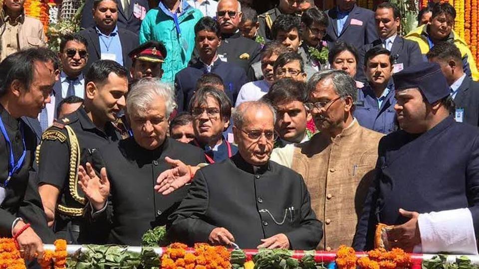President Pranab Mukherjee outside the Badrinath temple on Saturday.