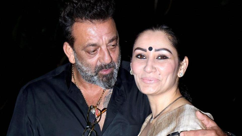 Bollywood actor Sanjay Dutt with his wife Manyata Dutt celebrate the completion of the film Bhoomi in Mumbai on Friday.