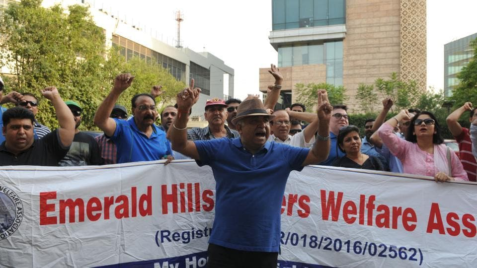 Buyers of flats and plots in Emerald Hills Society protest against the builder in Gurgaon on Saturday.