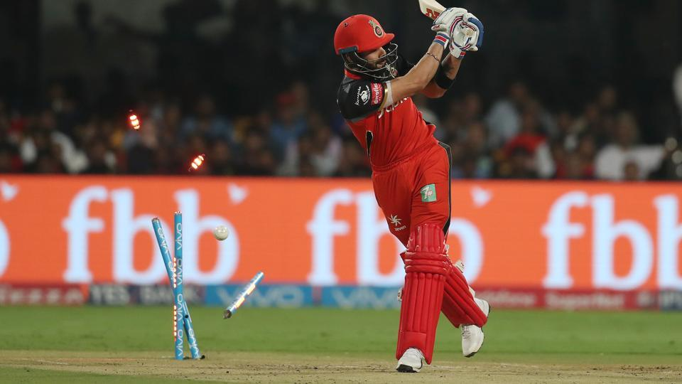Virat Kohli, Royal Challengers Bangalore captain, was bowled by Sandeep Sharma of Kings XI Punjab in an Indian Premier League (IPL) 2017 match.