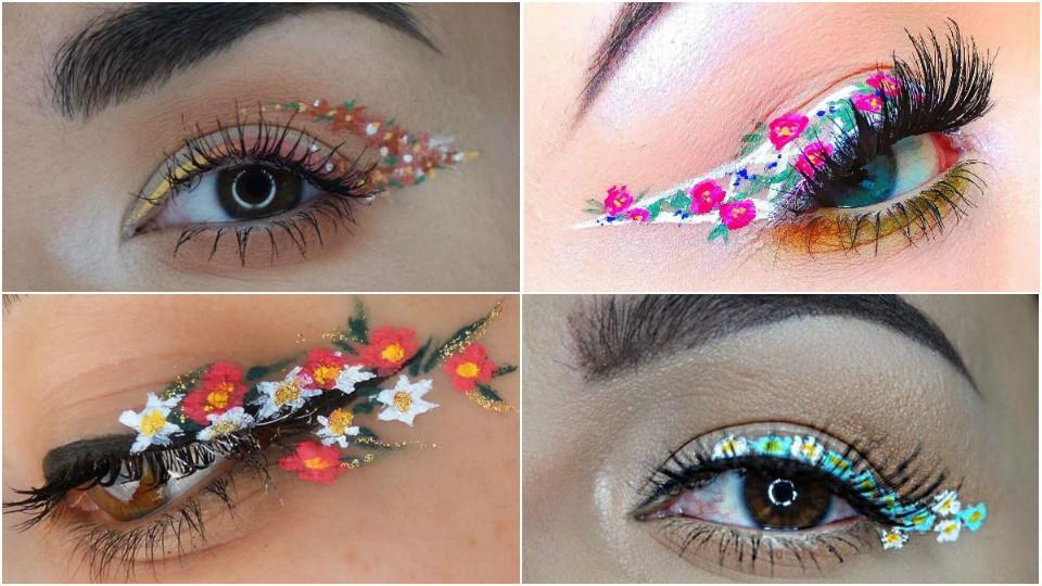 Floral eyeliners are easy to do and give you so many options to play around with.