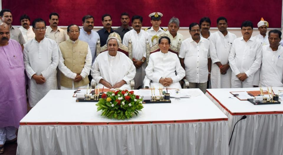 Odisha chief Minister Naveen Patanaik and Governor SC Jamir with new ministers after the oath taking ceremony at the Rajbhavan, Bhubaneswar on Sunday .