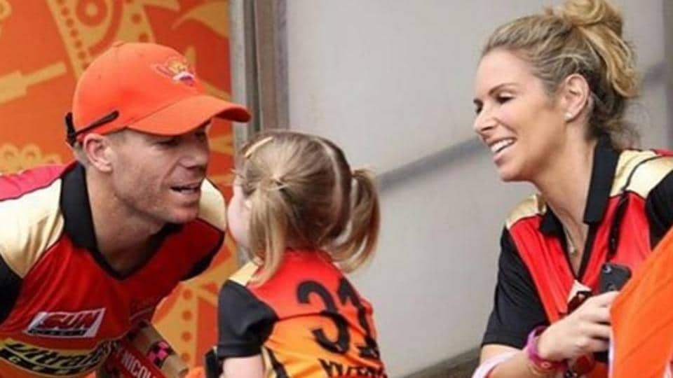 David Warner (L) is pictured alongside daughter Ivy Mae (C) and wife Candice (R) during Sunrisers Hyderabad's IPL 2017 game against Rising Pune Supergiant on Saturday.