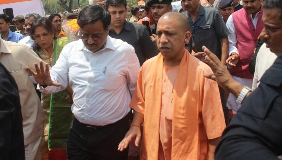 Yogi Adityanath takes stock  of the projects undertaken for cleaning  the Yamuna  river.