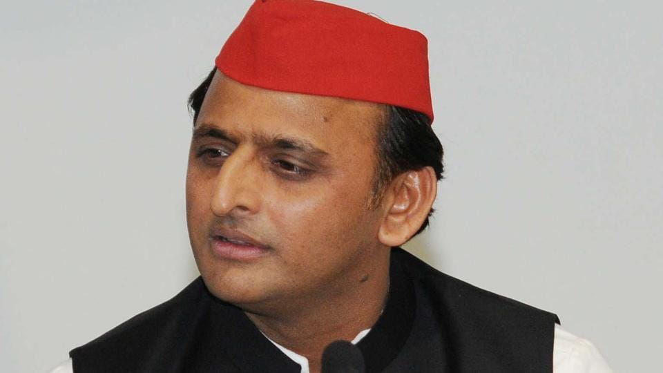 Akhilesh Yadav during a press conference at Samajwadi Party office in Lucknow.