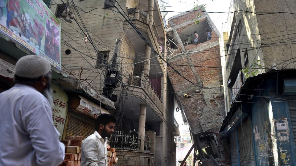 A building collapsed in JJ resettlement colony, Inder Puri, on Saturday.