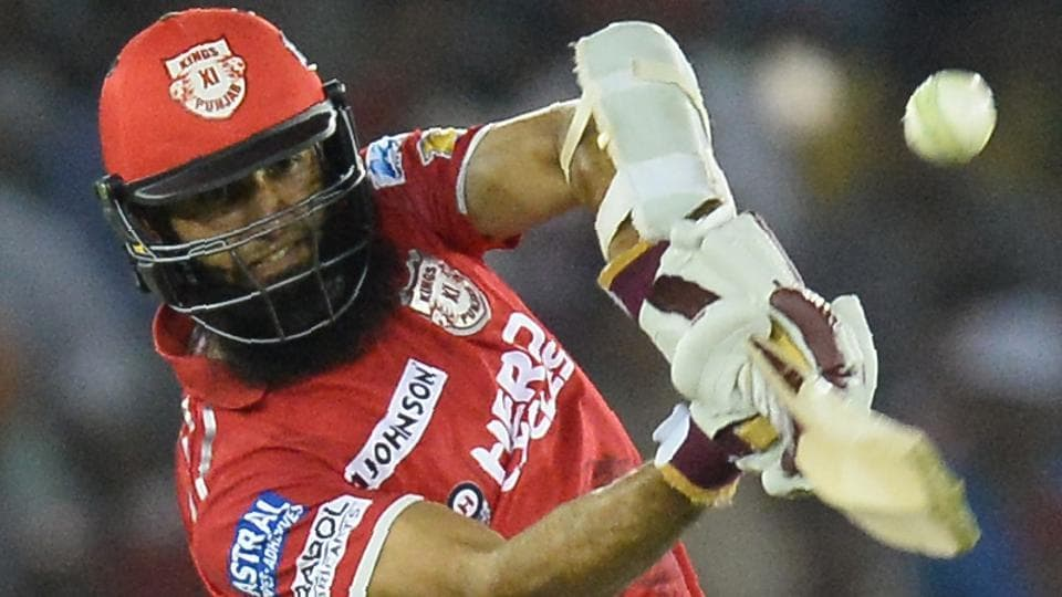 Hashim Amla of Kings XI Punjab hits a boundary during the 2017 Indian Premier League (IPL) match against Gujarat Lions in Mohali on Sunday.