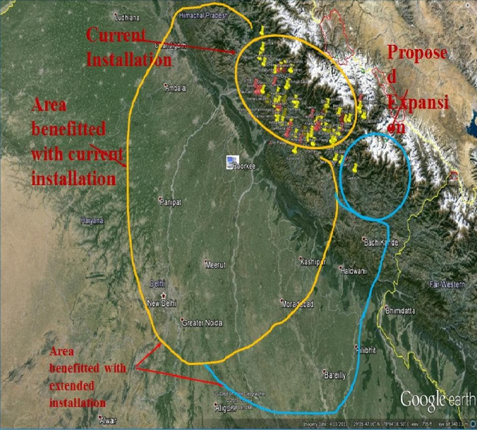 A map showing areas with current installation/proposed extension of earthquake sensors under the Earthquake Early Warning System.