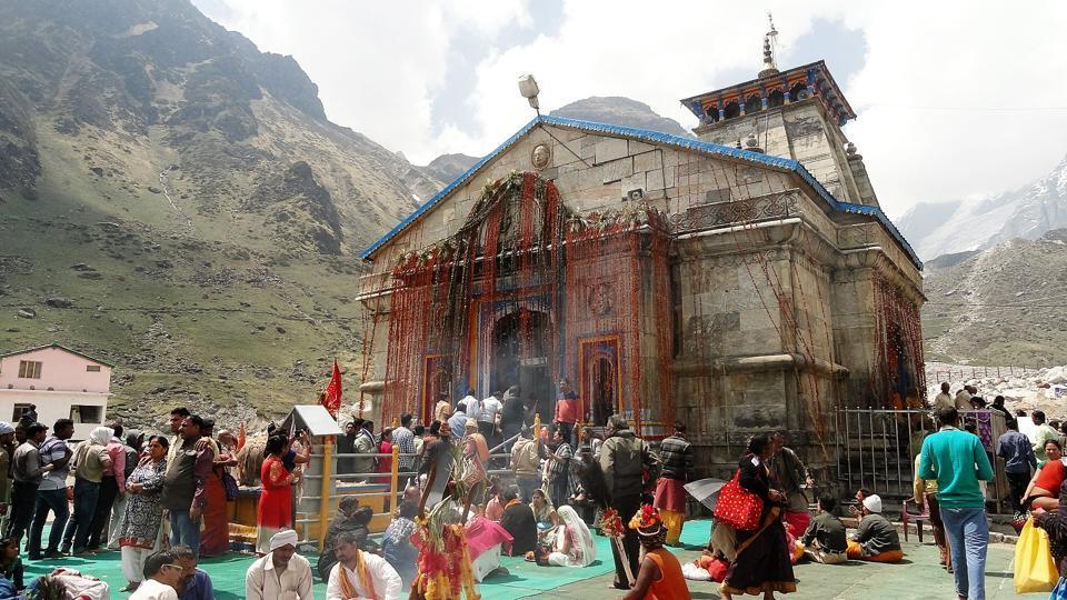 A view of Kedarnath shrine in Rudraprayag district.