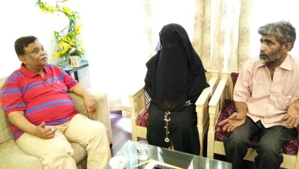 The woman, who was subjected to triple talaq, meets UP minister of state Atul Garg in Ghaziabad on Sunday.