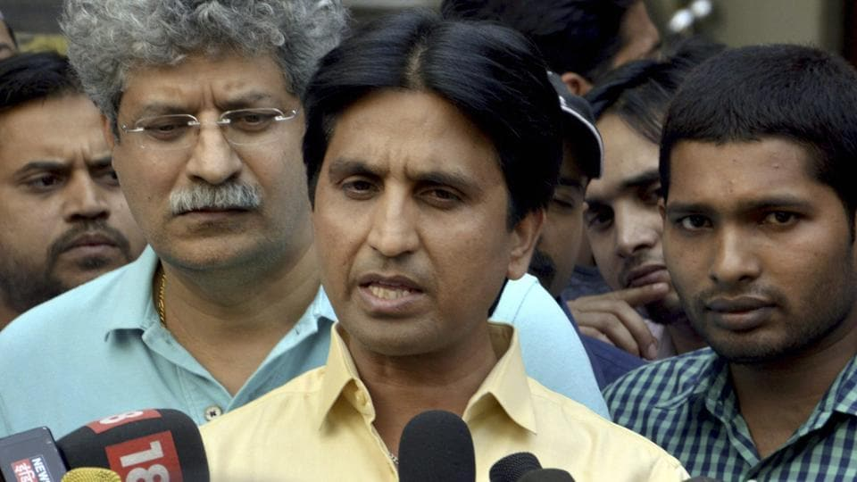 Ghaziabad: AAP leader Kumar Vishwas speaks to media at his residence in Ghaziabad on Tuesday. PTI Photo (PTI5_2_2017_000179A)