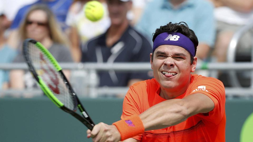 Milos Raonic in action against Viktor Troicki during the Istanbul Open.